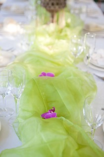 A stream of green organza for this table runner. Photo courtesy of Aida Krgin.